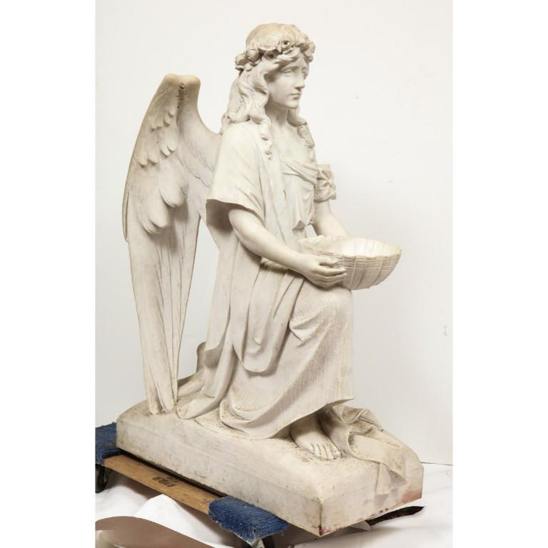 Monumental Italian White Marble Figure Sculpture of a Seated Winged Woman, 1870 For Sale 15