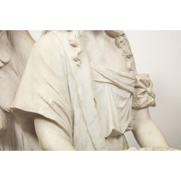Monumental Italian White Marble Figure Sculpture of a Seated Winged Woman, 1870 For Sale 17