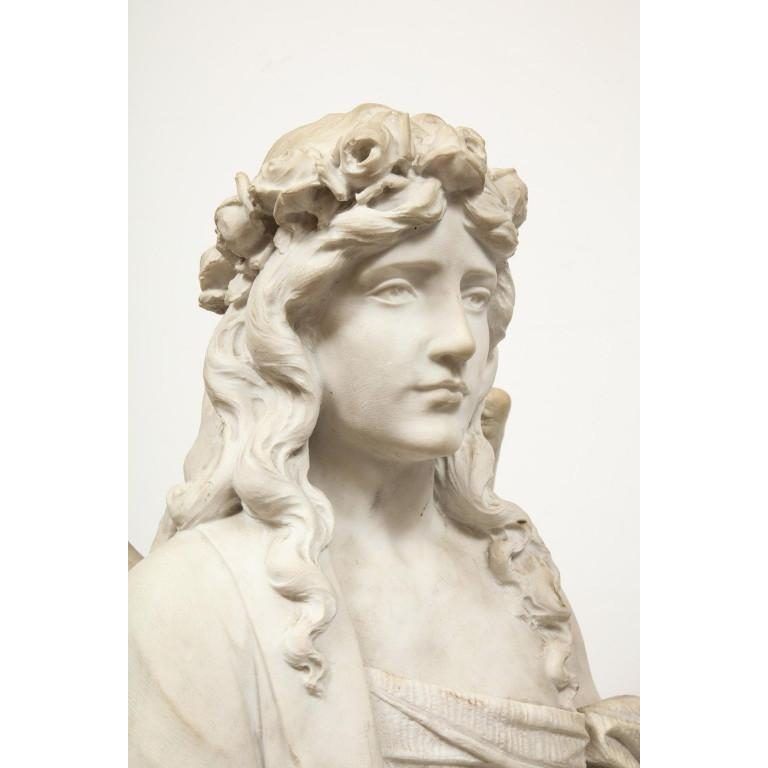 Monumental Italian White Marble Figure Sculpture of a Seated Winged Woman, 1870 For Sale 18