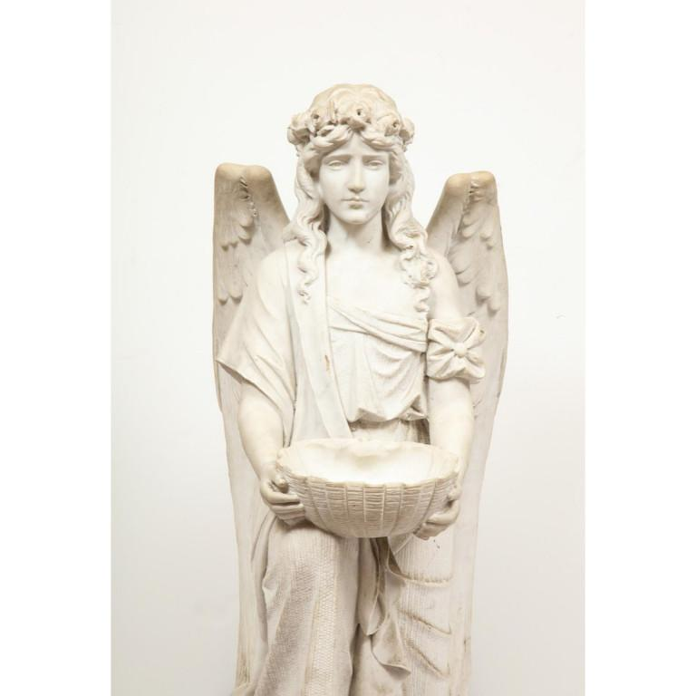 Monumental Italian White Marble Figure Sculpture of a Seated Winged Woman, 1870 For Sale 1
