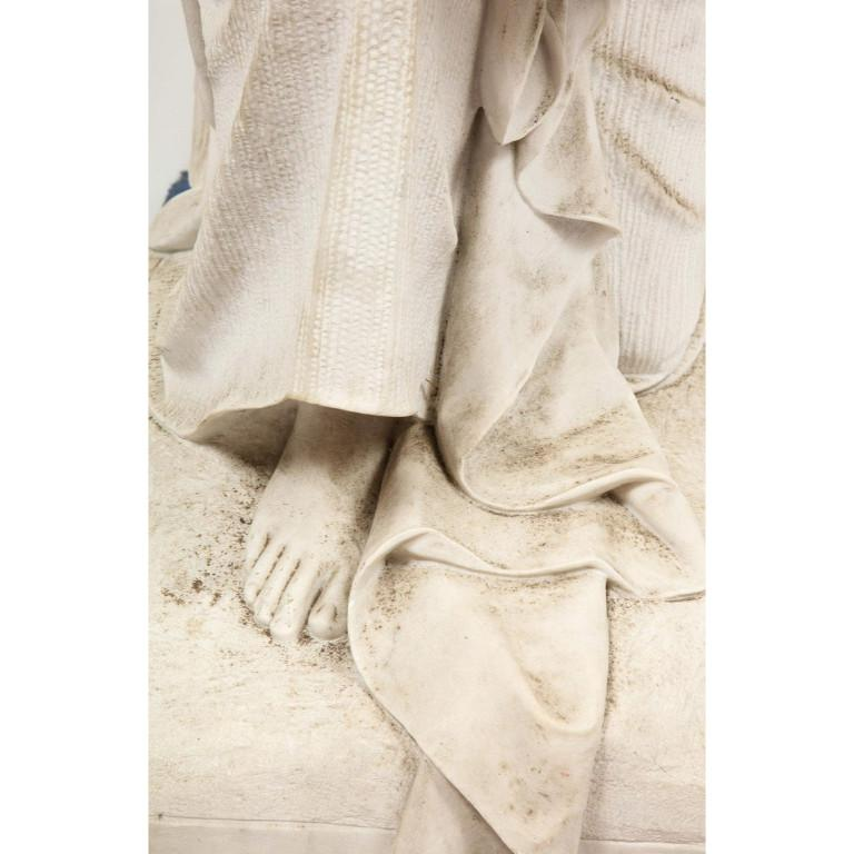 Monumental Italian White Marble Figure Sculpture of a Seated Winged Woman, 1870 For Sale 2