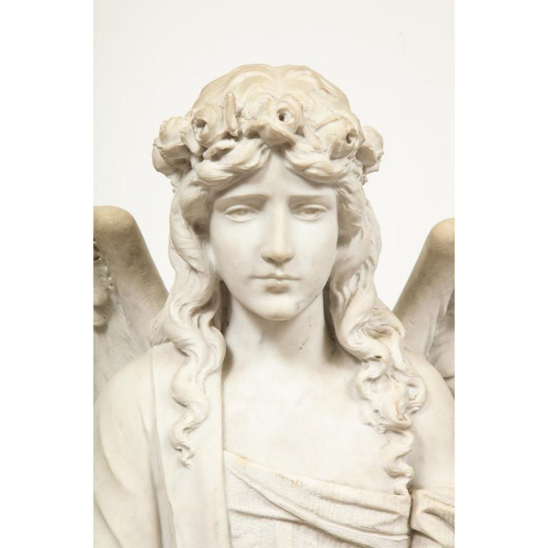 Monumental Italian White Marble Figure Sculpture of a Seated Winged Woman, 1870 For Sale 3