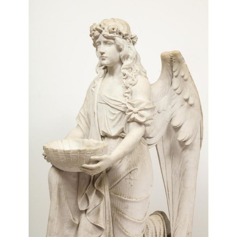 Monumental Italian White Marble Figure Sculpture of a Seated Winged Woman, 1870 For Sale 5