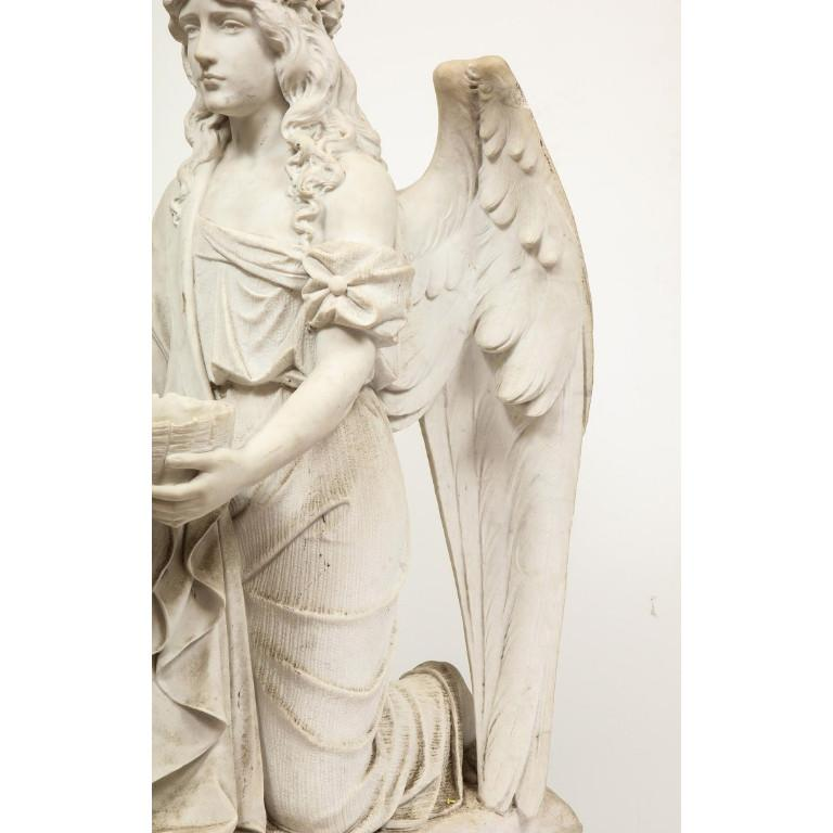 Monumental Italian White Marble Figure Sculpture of a Seated Winged Woman, 1870 For Sale 6