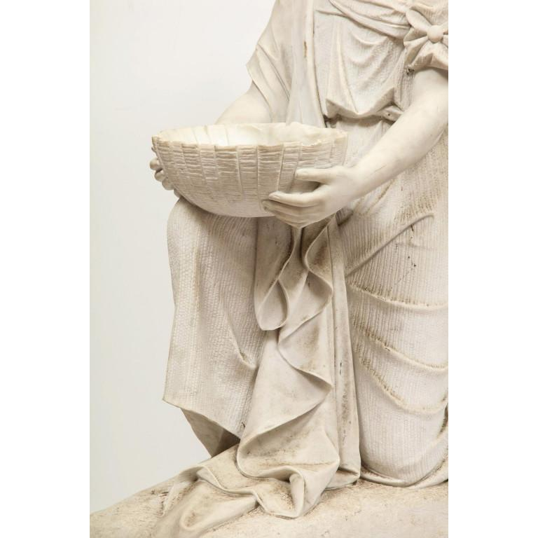 Monumental Italian White Marble Figure Sculpture of a Seated Winged Woman, 1870 For Sale 7
