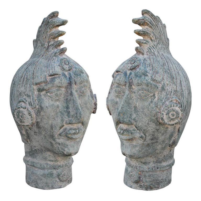 Monumental Pair of Mayan Terracotta Bronze Patina Color Sculptural Heads