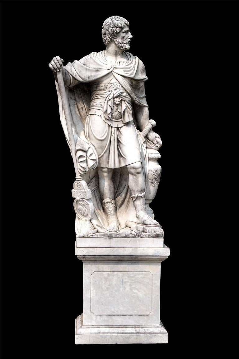 Monumental Pair of White Marble Sculptures of Classical Figures  For Sale 4
