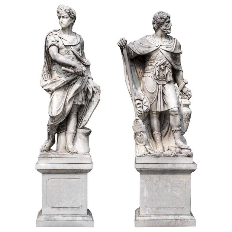 Monumental Pair of White Marble Sculptures of Classical Figures