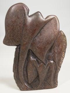 'Mother and Baby Elephant' original African Shona stone sculpture Zimbabwe