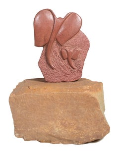'Mother Elephant with Baby' original African Shona stone sculpture Zimbabwe