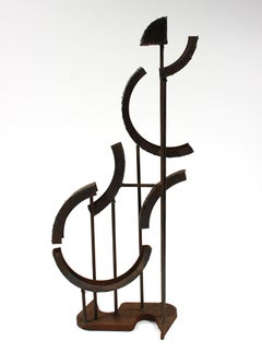 Multimedia Welded Metal Geometric Sculpture, Late 20th Century