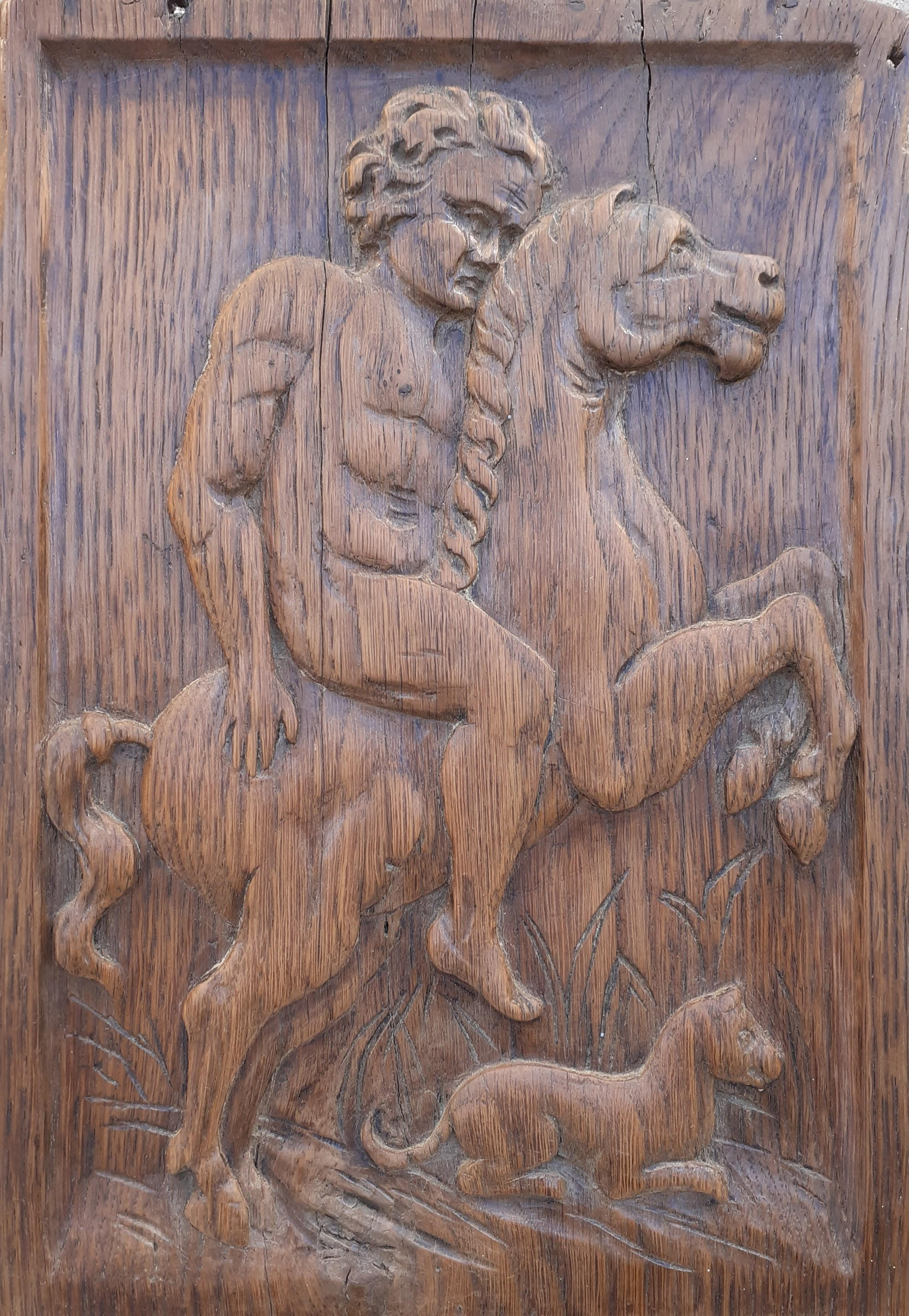 Mythological scene: naked male rider and his dog French relief sculpture carving