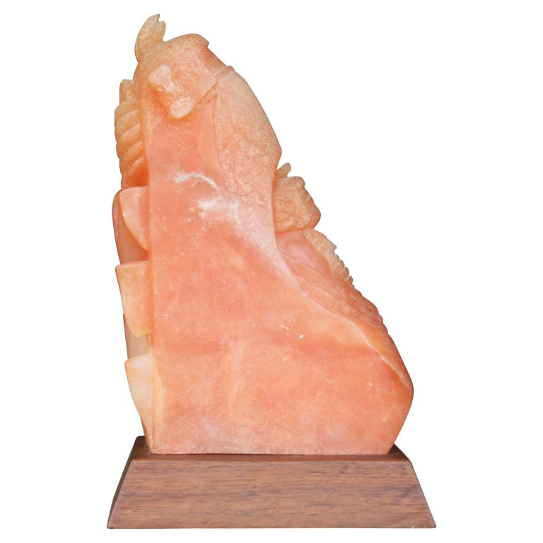 Unknown Abstract Sculpture - Native New Mexico Pink Alabaster Sculpture of a Corn Man