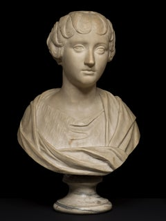 Neoclassical Female Marble Portrait Bust of Faustina the Younger 18th Century