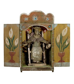 """Nino de Aotocha in Nicho (Holy Child in Niche) Retablo"" Carved Wood from Mexico"