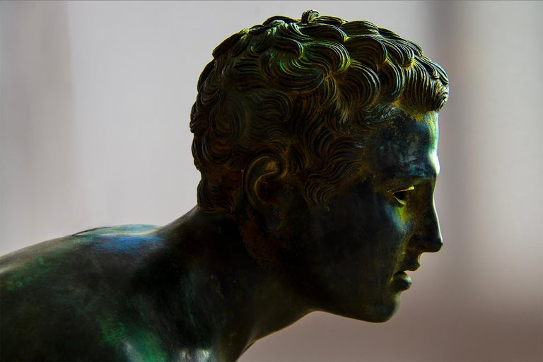 Nude Male Runner Classical Patinated  Bronze After the Antique For Sale 5