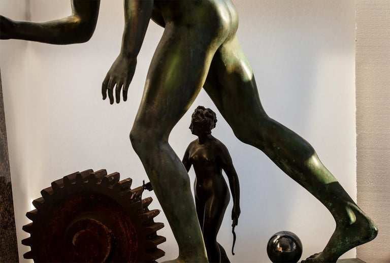 Nude Male Runner Classical Patinated  Bronze After the Antique For Sale 7