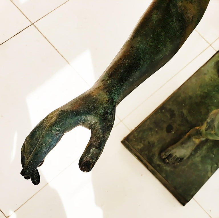 Nude Male Runner Classical Patinated  Bronze After the Antique For Sale 10