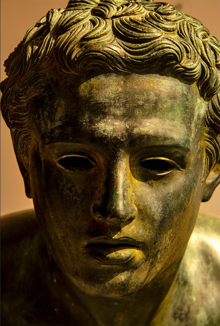 Nude Male Runner Classical Patinated  Bronze After the Antique - Sculpture by Unknown