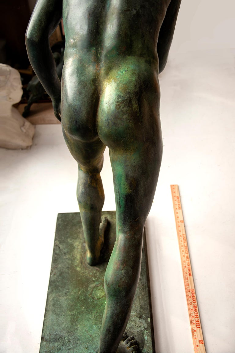 Nude Male Runner Classical Patinated  Bronze After the Antique - Old Masters Sculpture by Unknown