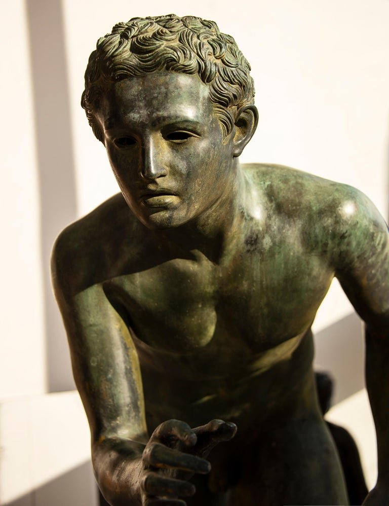 Nude Male Runner Classical Patinated  Bronze After the Antique - Gold Figurative Sculpture by Unknown