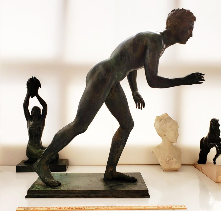 Nude Male Runner Classical Patinated  Bronze After the Antique For Sale 2