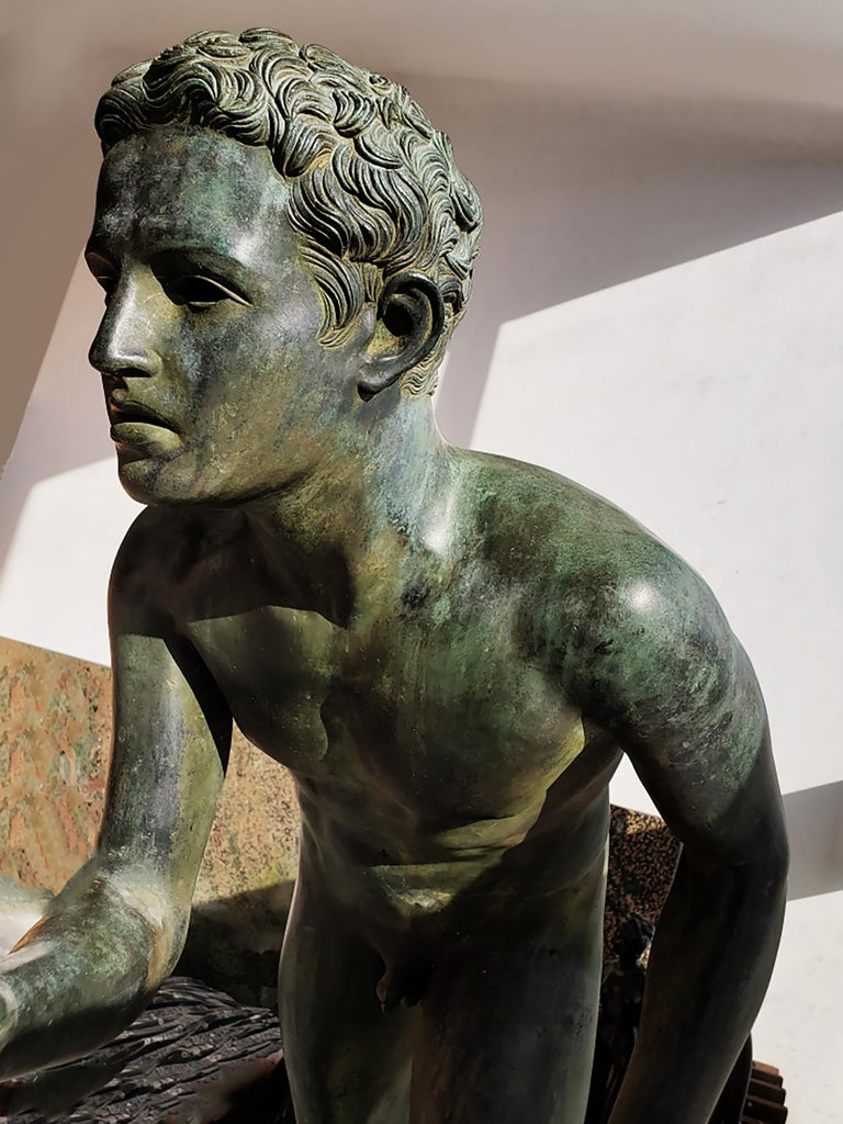 Nude Male Runner Classical Patinated  Bronze After the Antique For Sale 4