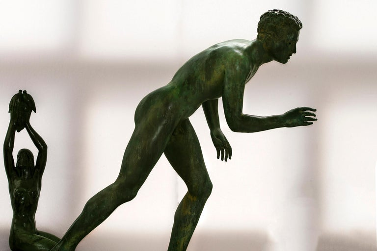 Unknown Figurative Sculpture - Nude Male Runner Classical Patinated  Bronze After the Antique