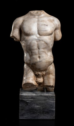 Nude Male Torso Sculpture of Athlete Italian White Marble After the Antique