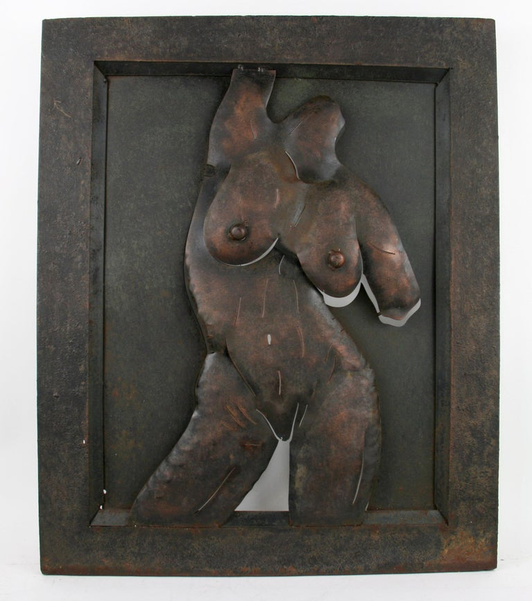 9-444 Hand made wall metal sculpture with heavy iron frame