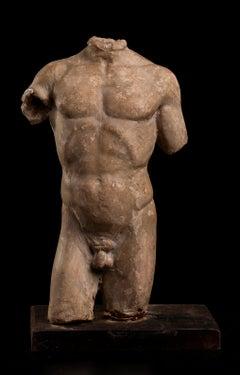 Nude Terracotta Sculpture Torso of Male Athlete 19th Century Roman Academy