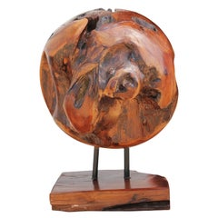 Organic Modern Polished Wooden Root Sphere Sculpture