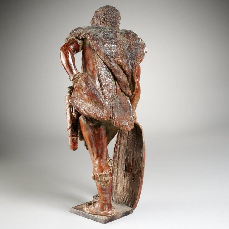 Orientalist African Hunter Leaning on His Shield 19th cent. Likely Black Forest - Academic Sculpture by Unknown