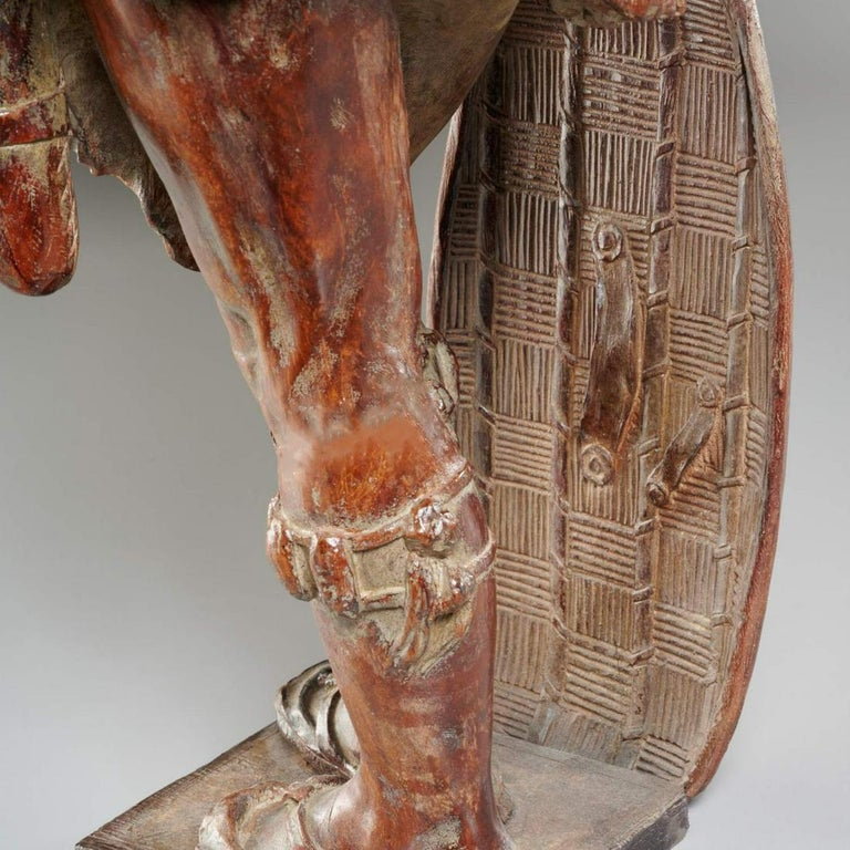 Orientalist African Hunter Leaning on His Shield 19th cent. Likely Black Forest For Sale 2