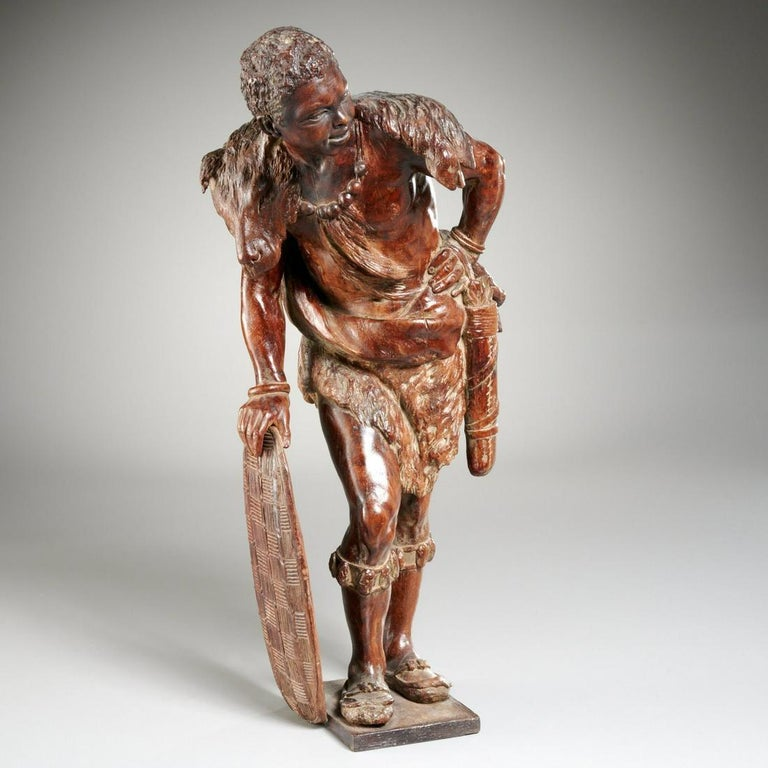 Unknown Figurative Sculpture - Orientalist African Hunter Leaning on His Shield 19th cent. Likely Black Forest