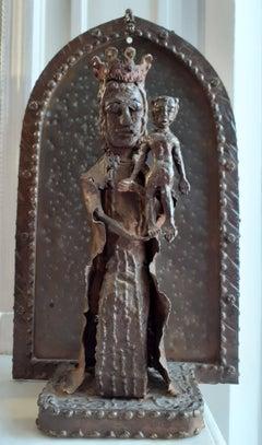 Outsider artist  singular virgin and child art brut sculpture mother and child