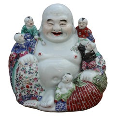Painted Porcelain Chinese Hotei Buddha with Children