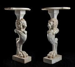 Pair Figurative Italian White Marble Sculptures of Standing Lions Leg Romans