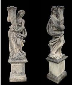Pair Italian Limestone Garden Sculptures with Cornucopia
