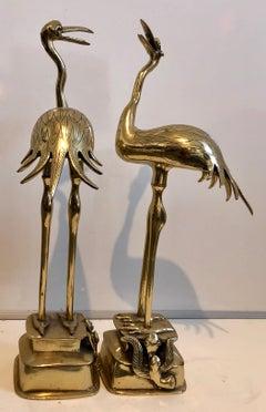 Pair Japanese 19th C. Polished Bronze Sculpture Cranes Pricket Candlesticks