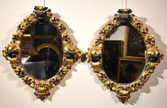 Pair Large Baroque Mirrors Rome 17/18th Century Gold Glass Italy Bernini Art