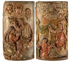 Pair of 17-18th century Italian wood sculptures - Virgin Reliefs - painted