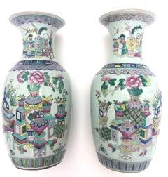 19Th Century Rose Medallion Chinese Porcelain Vases