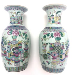 Pair of 19Th Century Rose Medallion Chinese Porcelain Vases