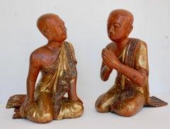 Pair of 19the Century Thai Sitting Buddhist Monks
