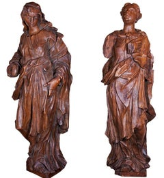 Pair Of Allegorical Figures In Oak, Circa 1730