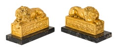 Pair of early 20th century Italian Lions sculptures - Golden metal marble bases