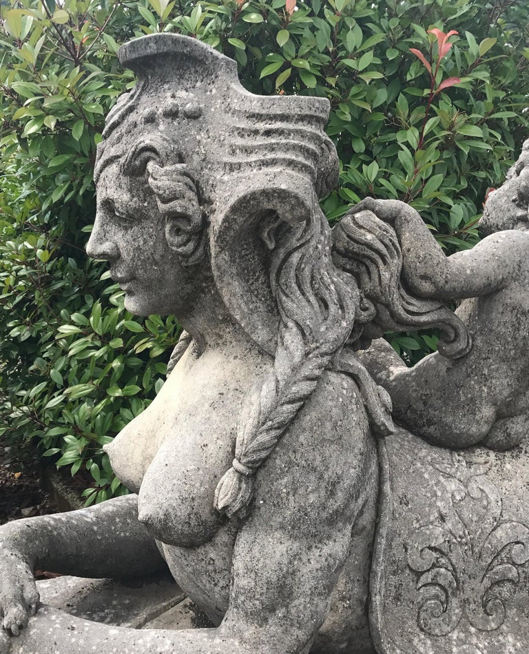 Pair of Exceptional Italian Sphinx Limestone Statues - Gray Nude Sculpture by Unknown