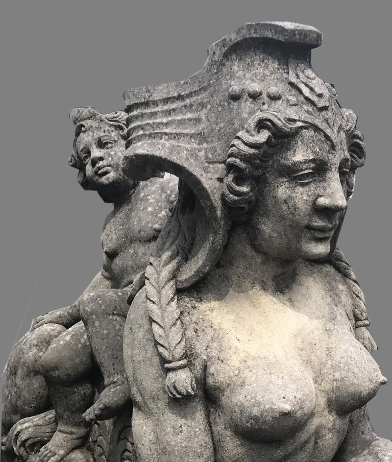 Pair of Exceptional Italian Sphinx Limestone Statues For Sale 1