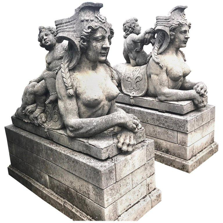 Unknown Figurative Sculpture - Pair of Exceptional Italian Sphinx Limestone Statues